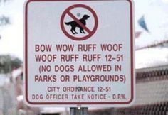 A sign designed to be read by 2 different species.