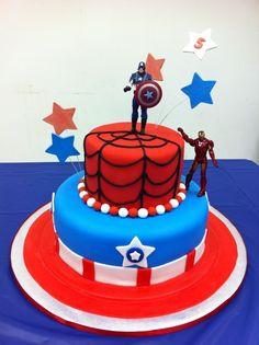 Super hero cake- like the spiderman web and captain america