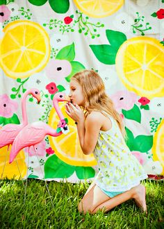 Girly Flamingos & Lemons Summer Birthday Theme