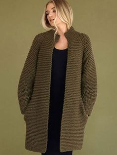 Rowan Bitter by Kim Hargreaves, Moss Moss by Kim Hargrave Crochet Coat, Knitted Coat, Crochet Clothes, Knit Cardigan Pattern, Crochet Cardigan, Knitting Designs, Knitting Patterns, Big Wool, Fall Fashion Outfits
