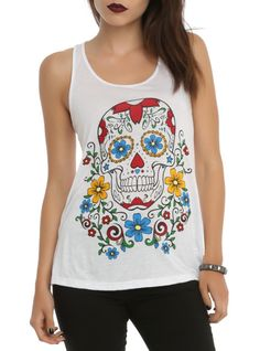 White racer back tank top with a floral sugar skull design on the front and a mesh panel down the back.
