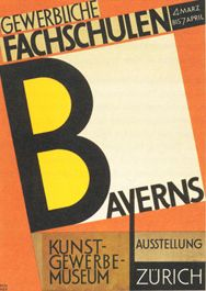 Renner's poster for an exhibition of work from the Bavarian Trade Schools held in Zurich, 1928. The hand drawn letterforms prefigure Renner's later typeface Steile Futura.