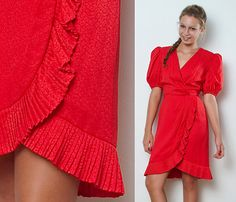 Vintage 80s Dress Red 100% Silk Pleated Trims Faux Wrap Plunging V neck S. $57.00, via Etsy.