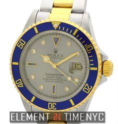 #Rolex #Submariner Steel & Gold Silver Diamond & Sapphire Serti Dial 16613