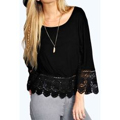 Choies Black Lace Hem Long Sleeve Blouse ($13) ❤ liked on Polyvore featuring tops, blouses, black, lace top, lace blouse, lacy blouses, long sleeve tops and lacy tops