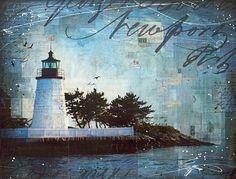 A Summer Night in Newport  48 x 36 original Rhode by maechevrette