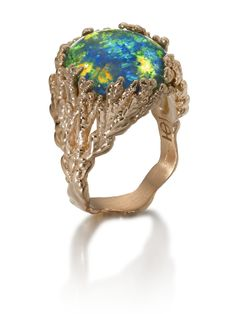 """Ornella Iannuzzi """"Coral Atoll"""" ring with a black Australian opal, set in rose gold (£POA)."""