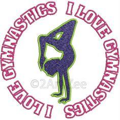 I Love Gymnastics Machine Embroidery Design by 2artzee on Etsy, $1.99