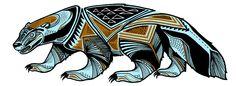 Preliminary design for 2013 lineup for Kebbek (Final Layouts by Kebbek) Wolverine Animal, Wolverine Art, Bear Tattoos, Animal Tattoos, Doodles Zentangles, Honey Badger Tattoo, Haida Kunst, Wolverine Tattoo, Maori Symbols