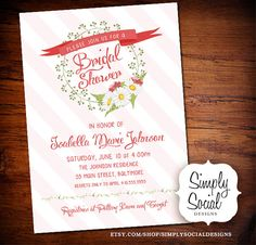Daisy Flowers and Ribbon Stripes Bridal Shower Baby Shower Invitation PRINTABLE
