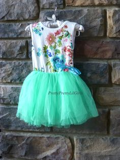 Little Girls Floral and Mint Tulle Dress Sweet Vibrant Floral Pattern on a Very High Quality Cotton Tank Dress with Several Layers of Premium Mint Green Tulle that make this dress...tutu cute !!!!!!!!