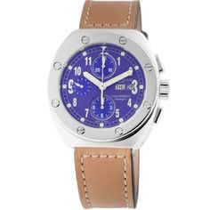 Montres De Luxe Men's TH7002 B BWN Automatic Chronograph Leather Date Watch