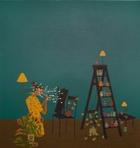 """S. Chambers, """"St Ursula/Black Mirror/Abacus"""", 2012, Oil on canvas, cm 140 x 150."""