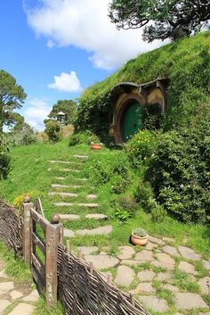 Hobbit houses in Matamata, New Zealand  Built for Lord of the Rings set, mostly dismantled after filming and later rebuilt for The Hobbit.  They are apparently going to remain this time as a tourist attraction.