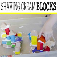 Building with Shaving Cream Blocks is a fun & unexpected way to play for toddlers & preschoolers. Enjoy a sensory & fine motor skills activity with blocks.
