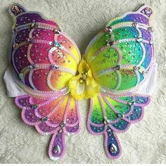 """Rainbow butterfly rave bra costume EDC outfit inspiration rave girl festival fashion neon kawaii 90s Lisa Frank the bouncing bunny 140 Likes, 6 Comments - thebouncingbunny (@the.bouncing.bunny) on Instagram: """"#throwback to this Rainbow Swallowtail I made for a giveaway winner this last spring. I love how…"""""""