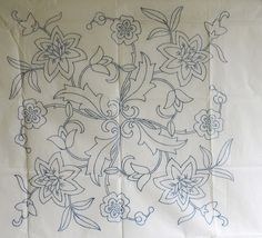 VINTAGE EMBROIDERY TRANSFER - FLORAL - CUSHION / PANEL- LAST ONE
