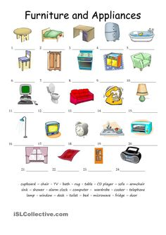 Furniture and applicances matching worksheet - Free ESL printable worksheets made by teachers English Class, English Lessons, Teaching English, Learn English, Matching Worksheets, Printable Worksheets, Window Desk, Learn Brazilian Portuguese, Portuguese Lessons