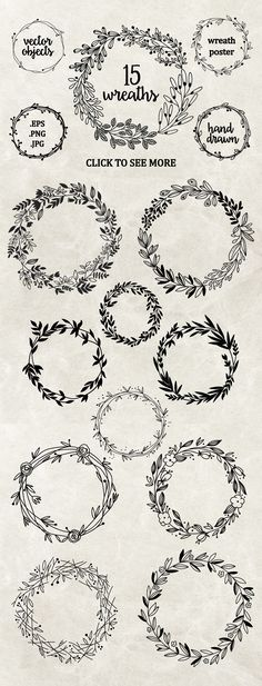 Embroidery Pattern from Hand drawn floral wreaths by Maria Galybina on @creativemarket. jwt