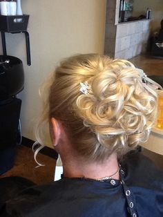 www.facebook.com/ericapstylist Updo with loose curls and accent clip