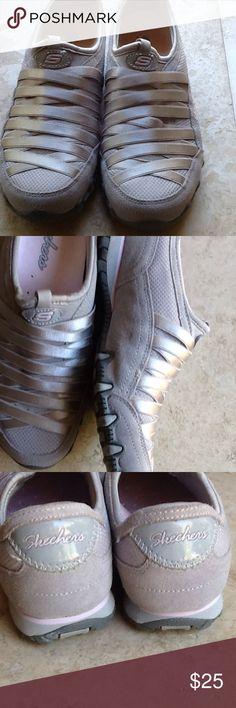 Suede Skechers    ECU Cute suede slip on Skechers.  Worn once in like new condition. Skechers Shoes Sneakers