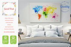 Peinture Splash monde carte toile impression / par SocialPrint