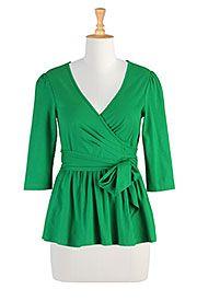 I <3 this Wrap peplum knit blouse from eShakti