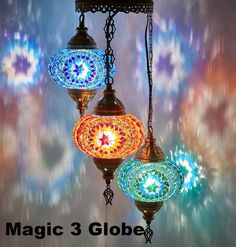 DEMMEX Turkish Moroccan Mosaic Hardwired OR Swag Plug In Chandelier Light Ceiling Hanging Lamp Pendant Fixture, 3 Big Globes X Globes Swag) - Great qualit Turkish Lamps, Moroccan Lamp, Ceiling Hanging, Hanging Lights, Hanging Lamps, Globe Ceiling Light, Ceiling Lights, Ceiling Ideas, Lamp Light