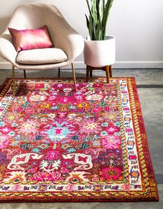 Unique Loom Medici Collection Traditional Vintage Abstract Multi Area Rug 0 x Decor, Living Room Carpet, Room Rugs, Vintage Carpet, Rug Placement, Rugs, How To Clean Carpet, Pink Area Rug, Home Decor