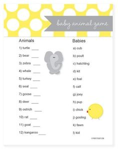 love this baby shower game baby animal game race to match the adult animals