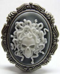 Vintage Style Gorgon Medusa Skull Cameo Brooch   eBay