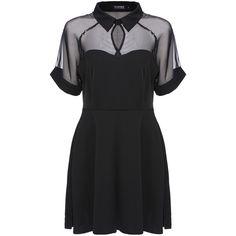 ROMWE Mesh Peak Collar Little Black Skater Dress (94 CNY) ❤ liked on Polyvore featuring dresses, vestidos, black, short dresses, short sleeve skater dress, skater dress, black party dresses and black skater dress