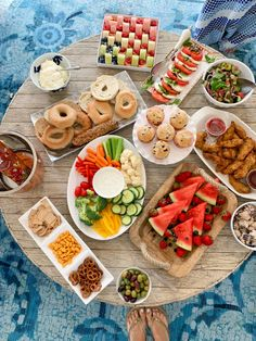 Labor Day Brunch Brunch Menu, Brunch Party, Wooden Serving Trays, Serving Platters, Homemade Blueberry Muffins, Fashionable Hostess, Wheat Thins, Greek Salad, Blue Berry Muffins