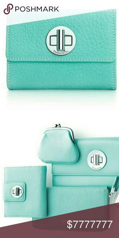 """NEW TIFFANY & CO. FRENCH GRAIN WALLET """"RARE FIND"""" TIFFANY & CO. FRENCH GRAIN LEATHER TURN-LOCK WALLET BRAND NEW IN BOX  COMES WITH BOX AND POUCH  CLASSIC ELEGANCE FOR EVERYDAY USE! GORGEOUS!!! COLOR TIFFANY BLUE SIZE 4.8"""" X 4.25"""" X .75"""" 4 FLAT POCKETS 6 CARD SLOTS 1 FLAP SOLD OUT RARE PIECE ❤PRICE FIRM❤ POSH TAKES 20% OF SALE BEAUTIFUL LUXURY  AT ITS FINEST! *NO TRADES NO RETURNS ASK QUESTIONS* Tiffany & Co. Bags Wallets"""