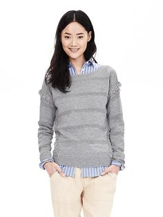 Gray Sheer-Stripe Fringe Pullover - I like the detail stitching and fringe...the neckline is too wide
