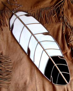Giant Stained Glass Bald Eagle Black and White Feather Suncatcher