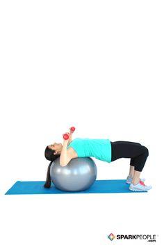 Dumbbell Chest Press on Ball Exercise Demonstration