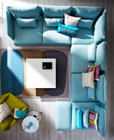 Stylish Interior Design — Söderhamn sofa by Ola Wihlborg for Ikea. U Couch, Söderhamn Sofa, Ikea Sofa, Ikea Soderhamn, Turquoise Couch, Light Turquoise, Blue Sectional, Blue Couches, Big Sofas