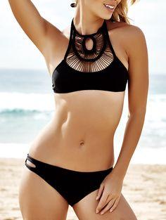 e432ff8e83 Pure Color Hollow Out Bikini Set Push Up Swimsuit, Bikini Set, Summer  Dresses,