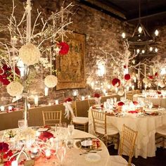 Maybe have some centerpieces like this and some with the 3 topiaries.  All using tissue paper pomanders.
