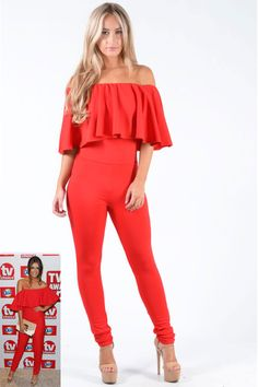 Pop Couture - Brooklin Off The Shoulder Ruffle Jumpsuit In Red, $42.44 (http://www.popcouture.co.uk/clothing/brooklin-off-the-shoulder-ruffle-jumpsuit-in-red/)
