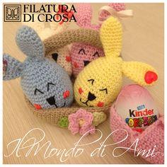 """Un'idea carina per Pasqua! Copri-Ovino Kinder coniglietto realizzati con filato """"Zarina"""" Filatura di Crosa. Handmade Crochet, uncinetto, fatto a mano."""