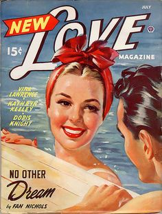 For a casual look, love the scarf tied on top, don't wanna get the hair wet! This is a beautiful cover of a mag or glossy 'novelette' from 40s-50s. The blogger, 'chronologically vintage', who posted this did research it, but came up short. She found it on 'X-ray delta one's' flick stream. He has an awesome stream, worth checking out- all vintage posters, ads, etc. From what I read, he restores the older stuff digitally & then posts 'before & after' shots, to enjoy its original  beauty!