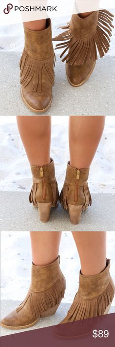 Fringe Tan Anthropologie Shoes Ankle Boots & Booties