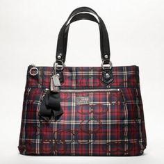 Coach Poppy Tartan Glam Tote Bag F18713 (Black/Multi-Color)