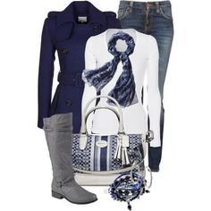 Women's outfits. Women's fashion. Women's clothes. Blue. Fall. Winter. Coach. Boots. Scarf.