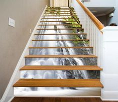 Waterfall View 7 Stair Risers Decoration Photo Mural Vinyl Decal Wallpaper CA Escalier Art, Escalier Design, Stairway Art, Stairway To Heaven, Marble Stairs, Wooden Stairs, Stair Risers, Stair Railing, House Stairs