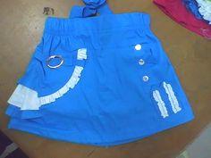 falda infantil con botones y sesgo en contrastes fruncidos