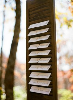 Escort Cards : displayed on shutters