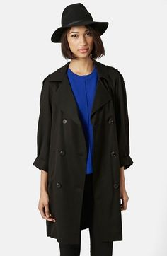 Topshop Split Back Duster lyocell black Lightweight Jacket, Trendy Fashion, Jackets For Women, Topshop, Nordstrom, My Style, How To Wear, Outfits, Clothes